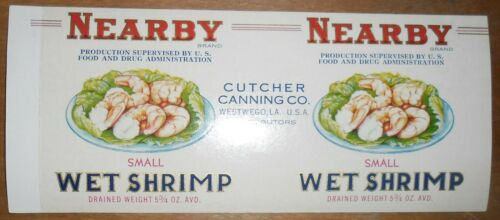 Nearby Shrimp Can Label Cutcher Canning Westwego Louisiana