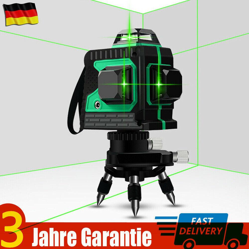3D Grün Laser Ebene 360° Rotation Selbstnivellierende Kreuzlinienlaser 12 Linien