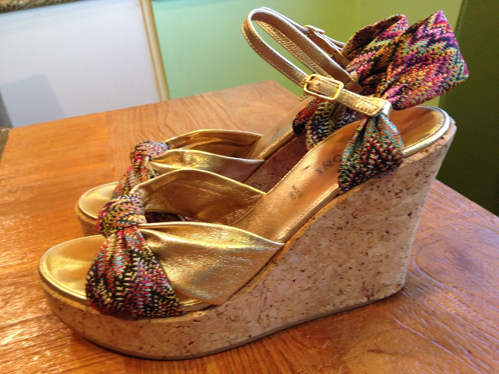 Missoni cork wedge with leather and signature pattern fabric, fabric, fabric, US Taille 7.5 801833