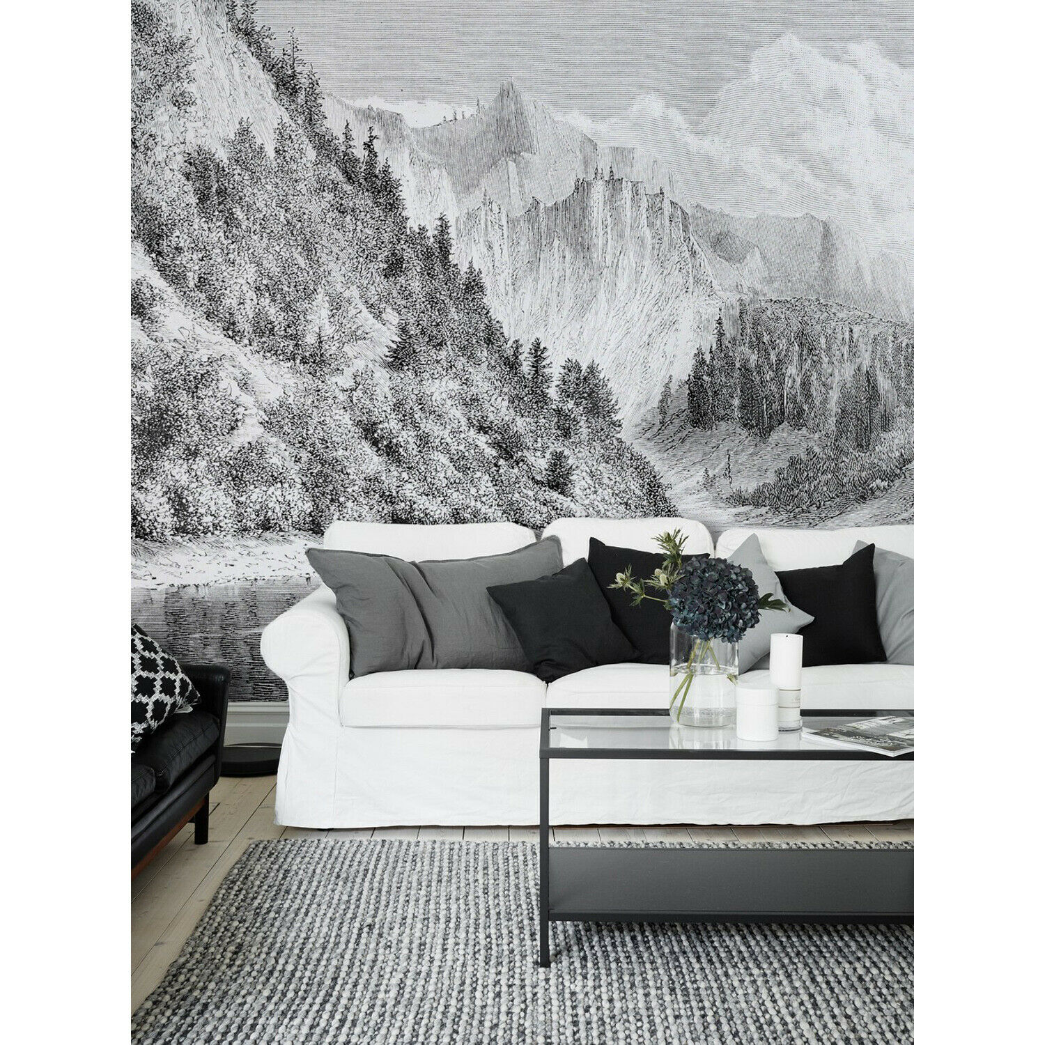 Hand Drawn Mountains landscape hills highlands forest wildland Wall Mural
