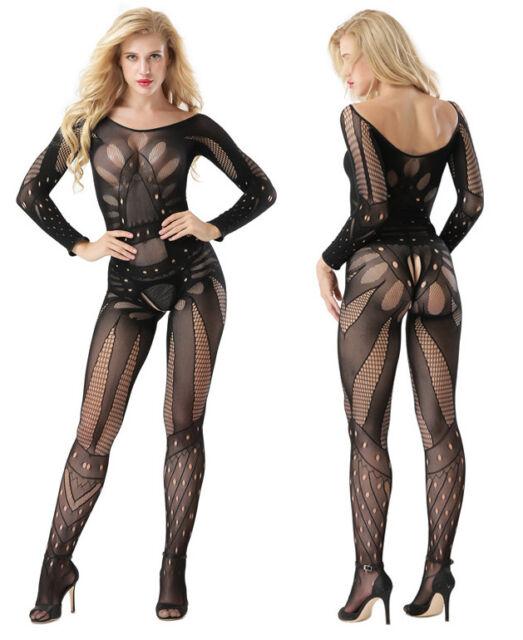 Sexy Women Full Body Stocking Open Crotch Lingerie Long Sleeve Pantyhose Skinny