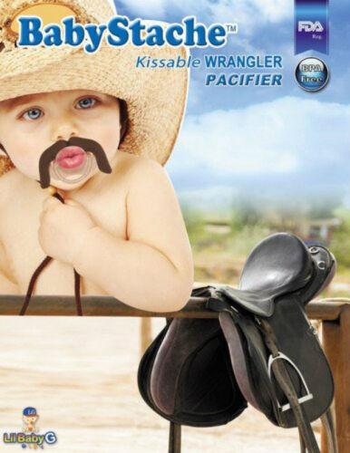 BabyStache Kissable Baby Pacifier Wrangler Brown Child Infant Shower Gift