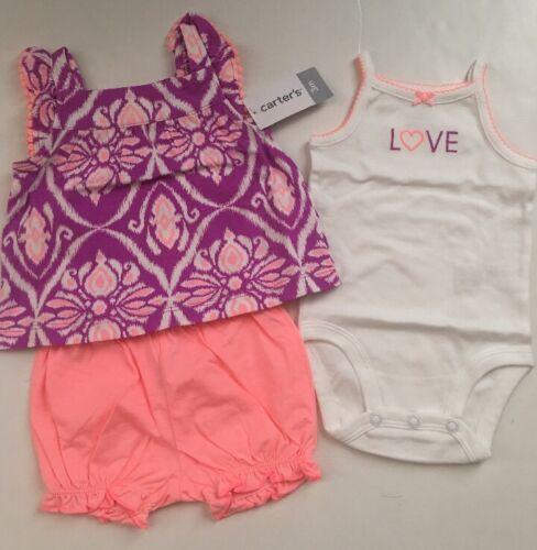 Carters Girl Tank Top Bodysuit Bubble Short Size 3 6 9 12 18 Months Purple Coral