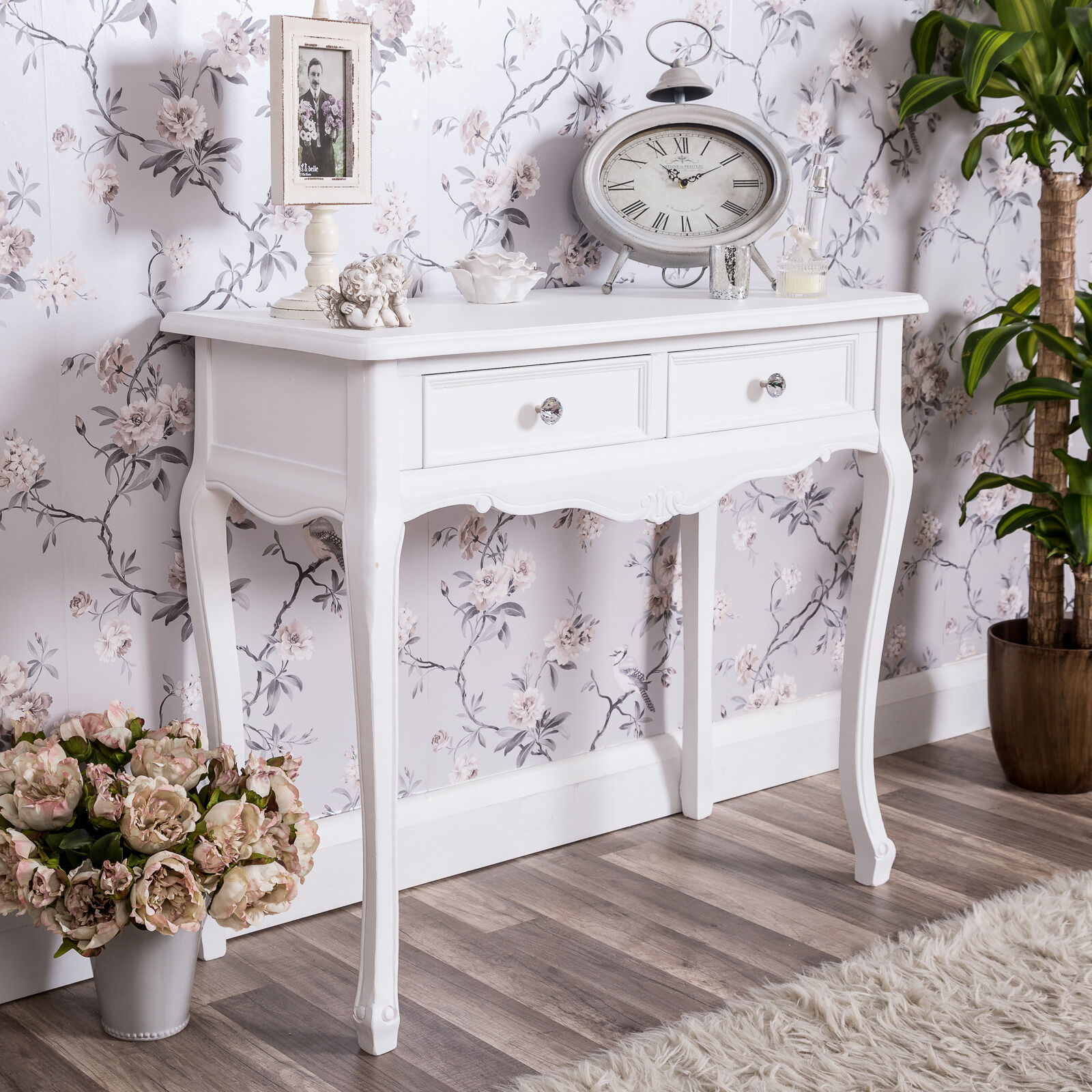 Shabby Chic Bedroom Sets: White Dressing Console Table Shabby Vintage French Chic