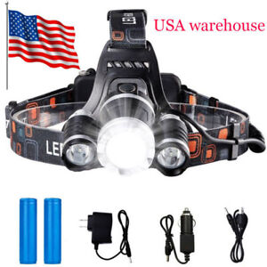 USA-Stock-Led-Headlight-Headlamp-Flashlight-Head-Camping-Hiking-18650-Light-Lamp