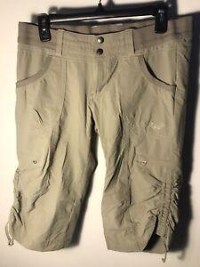 Kuhl Para Mujeres Largo Pantalones Cortos Estilo Cargo De Senderismo Al Aire Libre Bolsillos Pantalones 8 Khakis Beige Bronceado Ebay