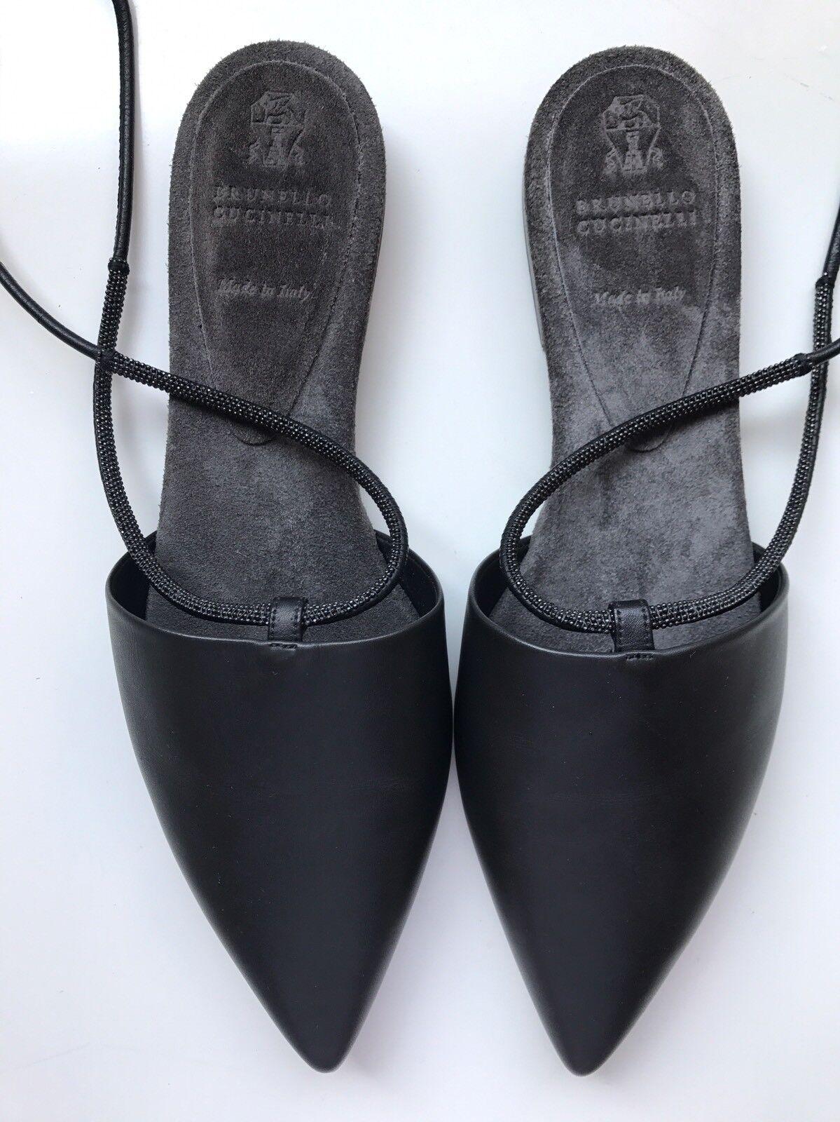 auth brunello cucinelli mois sangles en cuir chaussures noir d orsay des chaussures  cuir plates 38d7c0c8aeb7