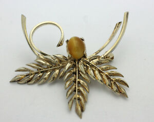 Sterling-Silver-925-Gold-Overlay-Vintage-Floral-Design-Tigers-Eye-Pin-5-6g-E185
