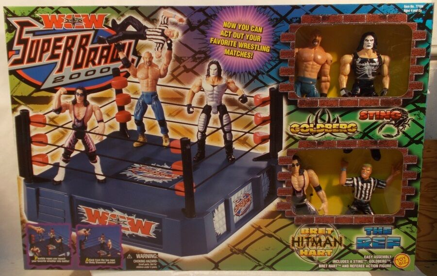 WCW Toybiz TRU Exclusive Super Brawl 2000 Ring Ref Bret Hart Sting goldberg MISB
