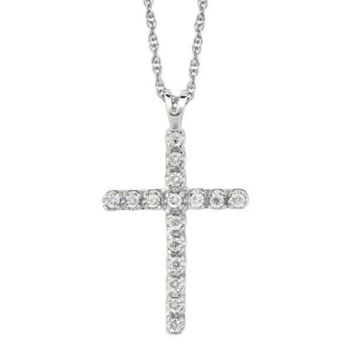 "925 Sterling Silver Diamond Croix Collier Pendentif 0.05 Ct 18/"""
