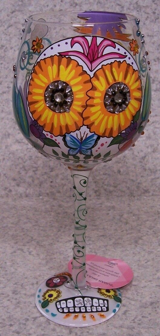 Wine Glass by Lolita Hand Painted Day of Dead Sugar Skulls NEW 15 Ounce gift box
