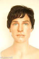Darkest Brown Brunette Medium Human Hair  Straight Human Men Men Wig