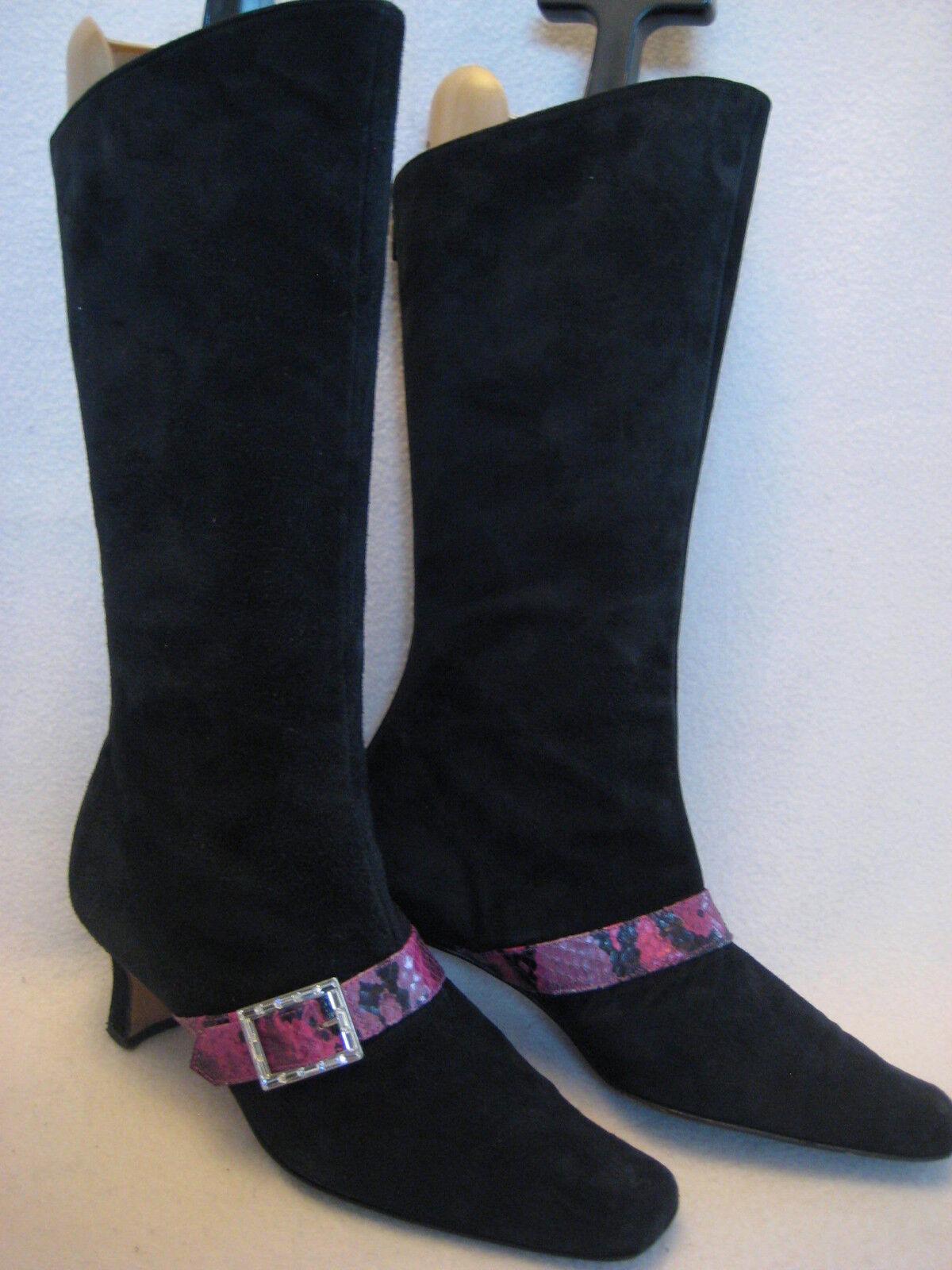 Bottine Bottes Beverly Feldman cuir velours noir strass 37 1 2 38 z17