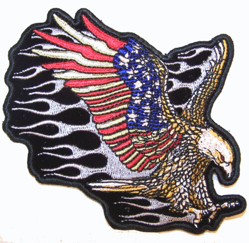 AMERICAN FLAG ATTACKING EAGLE PATCH P6010 hat jacket patches BIKER eagles ironon