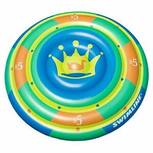 "Swimline 60"" Highroller Chip Island Round Inflatable 2 Rider Swimming Pool Float"
