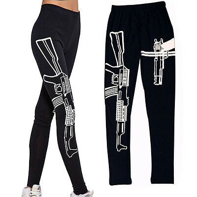 Women's Eyeful Elastic Cotton Yoga Leggings Machine Gun Print Gym Fitness Wear
