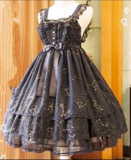 Japanese Sweet Sweet Sweet Lolita constellation star bronzing lace bowknot layered dress 89022b