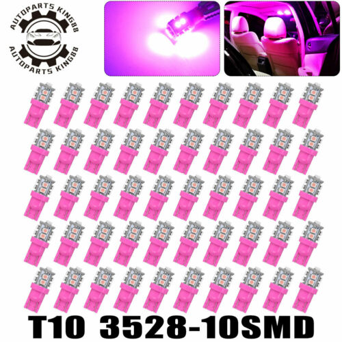 50X Purple Pink T10 LED Car Trunk Cargo Dome Map Interior Light Bulb 168 194 192