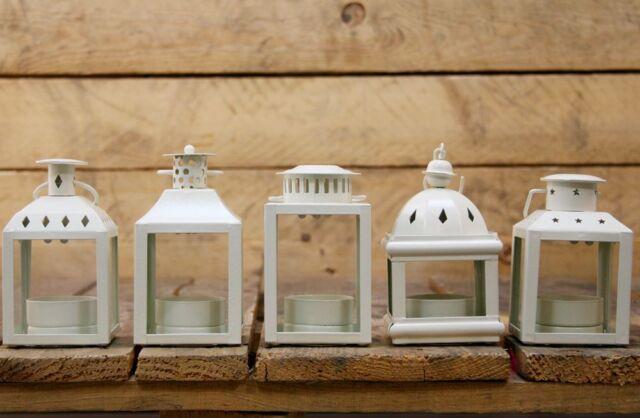 Set Of 5 Cream Metal Decorative Tealight Candle Holder Lanterns