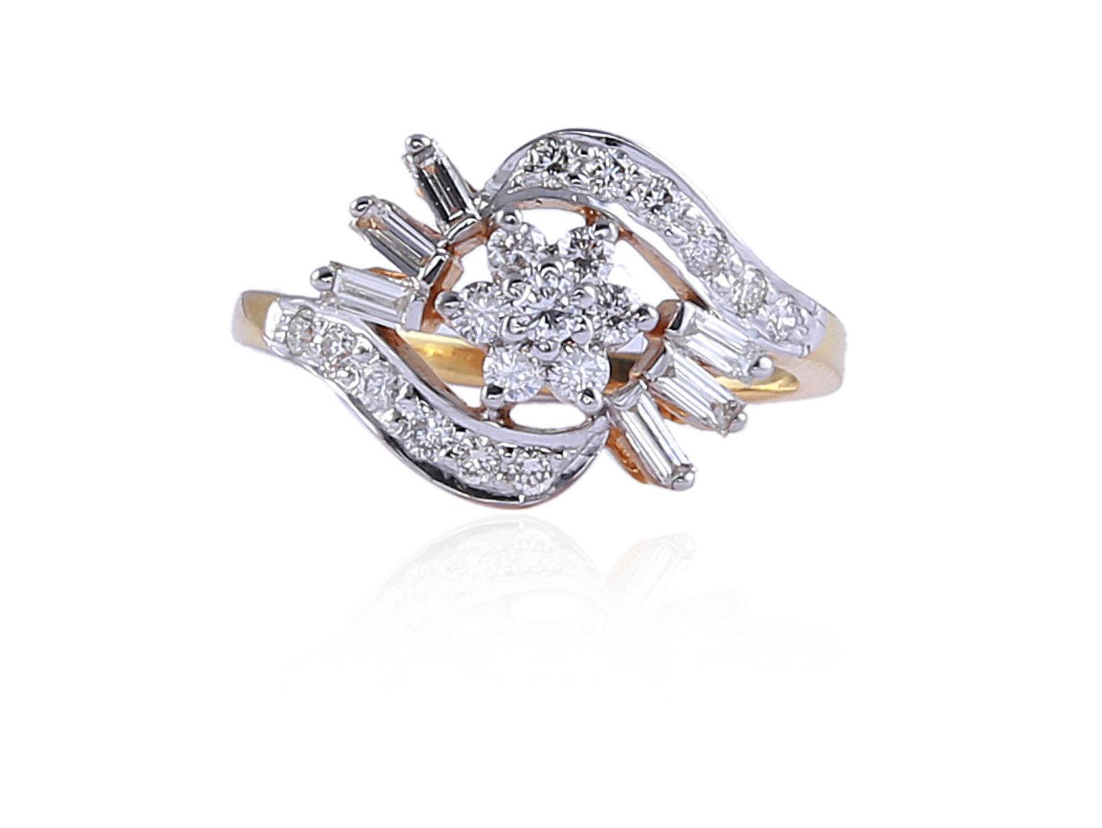 Pave 0.60 Cts Round Brilliant Cut Diamonds Ring In Fine Hallmark 18K Yellow gold