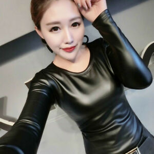 Ladies-Faux-Leather-Thermal-Basic-Tops-Pullover-Crew-Neck-Stretch-Blouse-Casual