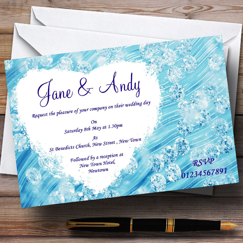 PÃle Baby Blau Crystals Pretty Personalised Wedding Invitations