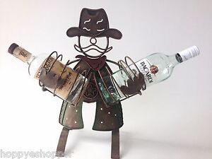 COWBOY-Metal-Art-2-Bottle-Holder-Bar-Dec-18-034-H-Funky-You-Get-Kick-Out-of-It-Gift