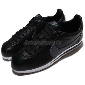 check out 0bc4d 7bd02 Image is loading Nike-Classic-Cortez-Leather-Black-Grey-Men-Shoes-
