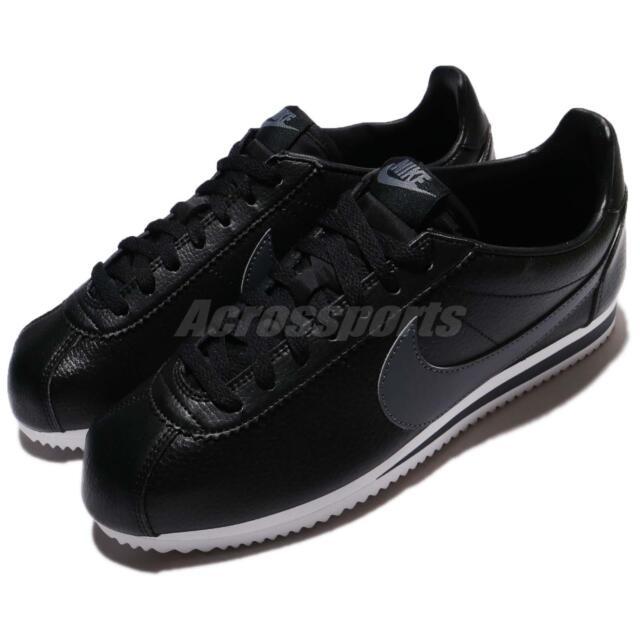 on sale e26cc fe720 Nike Classic Cortez Leather Black Grey Men Shoes Sneakers 749571-011