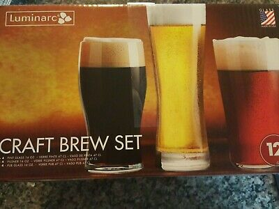 Oslo Pilsner 4-16 Ounce Tulip Pint Glass Luminarc N7580 Craft Brew 12-Piece Masters Set Clear Mixed Midland Pub