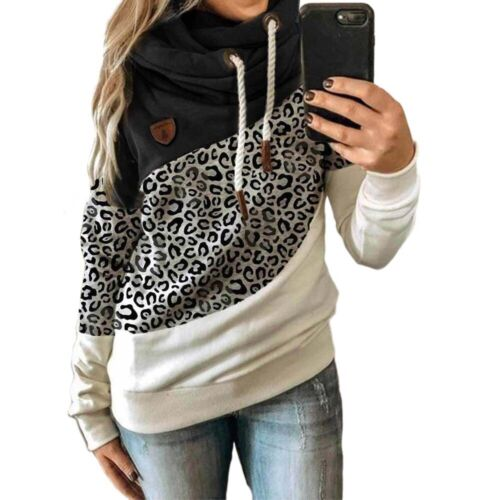 Plus Size Womens High Neck Hoodie Sweatshirt Sports Hooded Jumper Pullover Top S