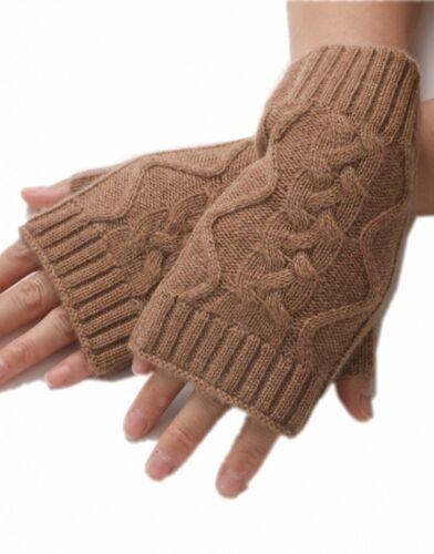 handgestrickte Kaschmir Zopfmuster Fingerlose Pulswärmer Stulpen Handschuhe