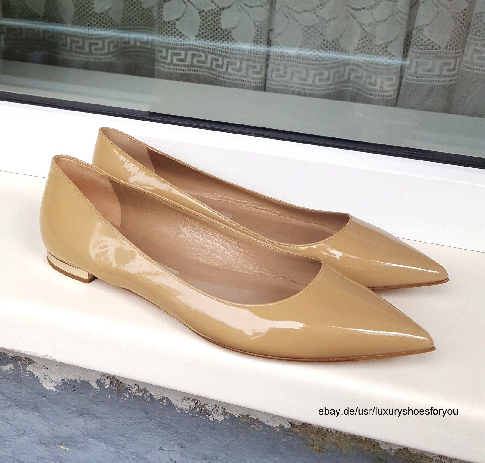 BURBERRY Beige Patent Patent Patent Leather Flats gr. EUR 39 272b2a