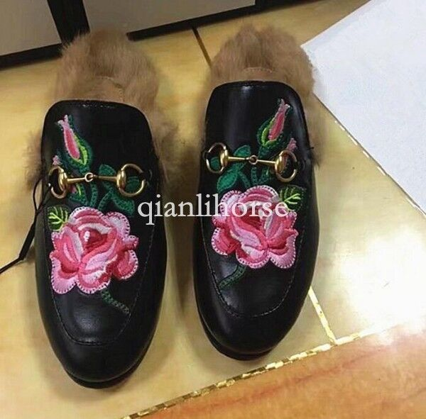 Men Metal decor Embroidery real rabbit fur slip on slippers Mules Leather Loafer
