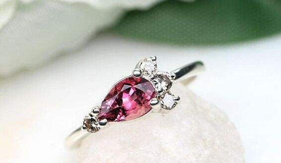 Pear Shaped Pink Tourmaline Round Chocolate Diamonds 14k White Engagement Ring