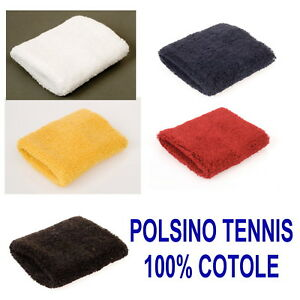 POLSINO-Tergisudore-ELASTICO-in-SPUGNA-TENNIS-SPORT-100-COTONE-ROSSO-BLU-GIALLO