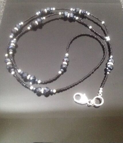 Black /& Silver Beaded Lanyard for ID//carte//Pass.. GRAND Mères Jour Cadeau