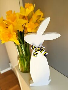 Details About Wooden Bunny Farmhouse Easter Decor White Rustic Wood Rabbit Shape Holiday Home