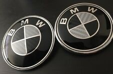 CARBON BLACK BMW 82mm 74mm Emblem Bonnet Boot Badge Set E30,E36,E46 UK SELLER