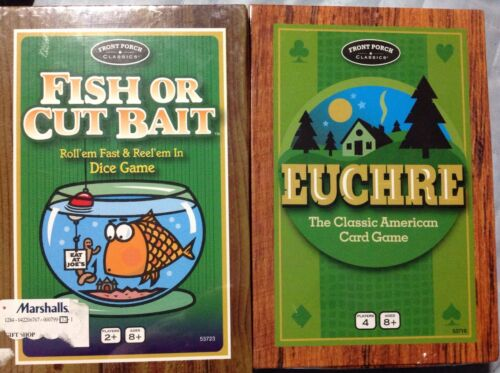 "2 Classic American Card Games ""EUCHRE & FISH OR CUT BAIT"" FRONT PORCH NEW SEALED"