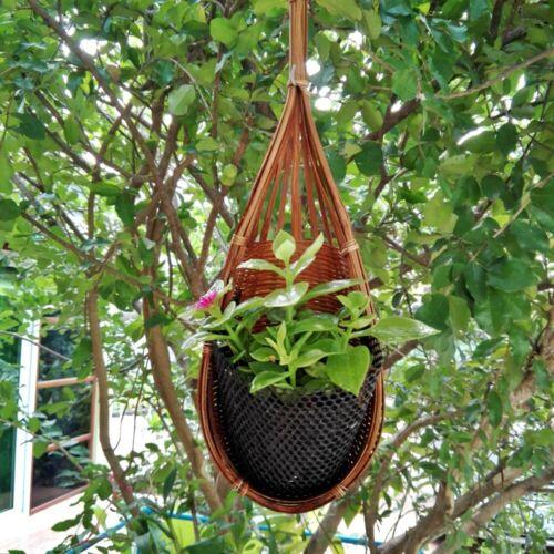 Tissé Bambou takraw suspendu JARDINIERE plante fleur orchidée panier decor jardin pot