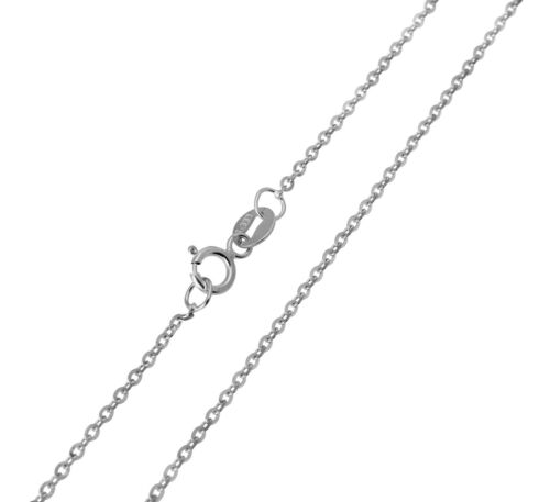 14K White Gold 1mm Side Diamond Cut Rolo Cable Chain 16 Inches