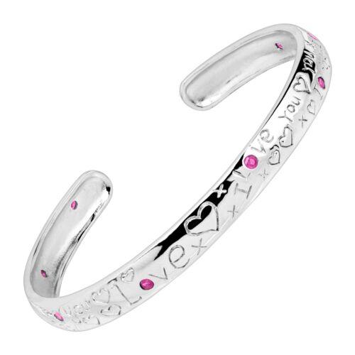 """Natural Ruby /""""I Love You/"""" Bracelet en argent sterling 7/"""""""