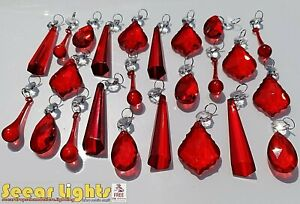 Details about ANTIQUE RED CHANDELIER GLASS CRYSTALS LEAF 5 DROPLETS LIGHT DROPS PRISMS ANTIQUE