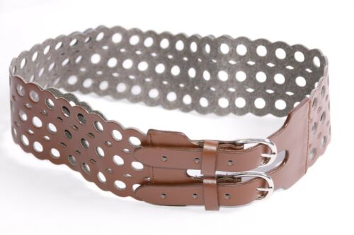 S394 Stunning Trendy Brown Wide Bohemian Waist Belt w Circular/&Diamond Holes