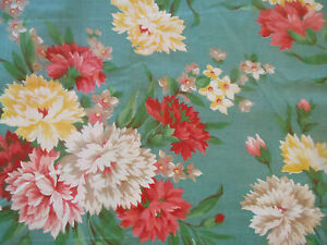 Vintage-Floral-Carnation-30-039-s-40-039-s-Cotton-Fabric-Coral-Pink-Yellow-Aqua-Teal