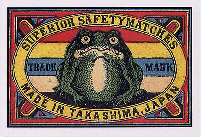 Large Green Frog early 20th c Japanese Match Label Vintage Art POSTCARD