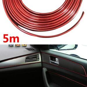 5M-Auto-Zubehoer-Auto-Universal-Interior-Dekorative-Rot-Strip-Chrome-Shiny-DIY