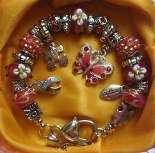 Autism Awareness European Butterfly, Ribbon & Imagine charm bracelet