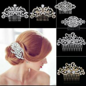 Vintage-Bridal-Wedding-Hair-Comb-Retro-Silver-Crystal-Glitzy-Hair-Clip-Headpiece